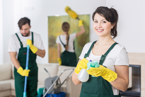 professional cleaning team, two females and a male cleaning in a home