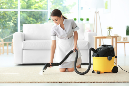 cleaning woman with apron professionally cleaning carpet in modern home